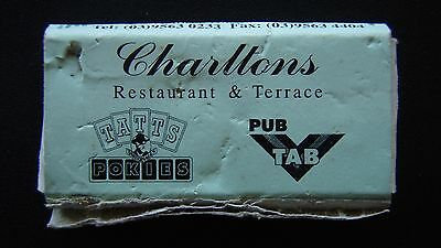 Charltons Restaurant Terrace Foresters Arms Hotel Oakleigh 03 95630233 Matchbox