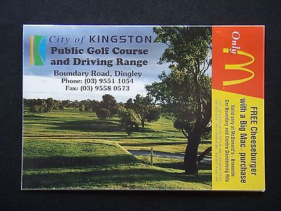 CITY OF KINGSTON PUBLIC GOLF COURSE & DRIVING RANGE DINGLEY McDONALDS SCORE CARD