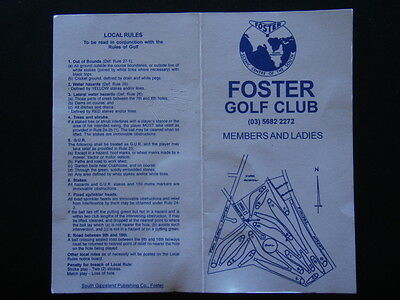 Foster Golf Club - Score Card
