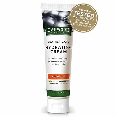 Oakwood Leather Care Hydrating Cream 250ml Conditioner Soften Cracking Couch