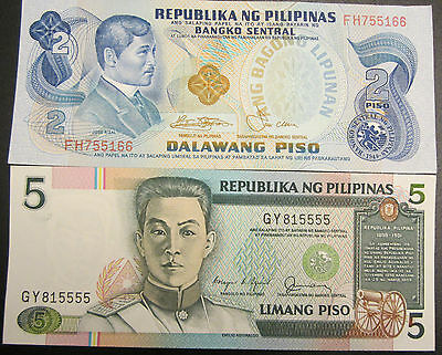 1973-78 Philippines Two And Five Piso Bank Notes Au/unc