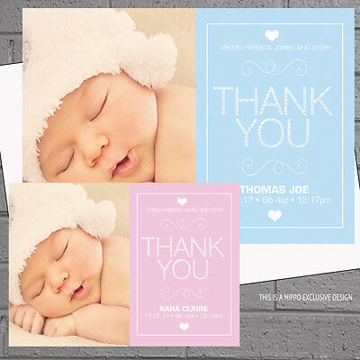 New Baby Thank you Cards Birth Announcement Personalised Girls Boys x12 H1600