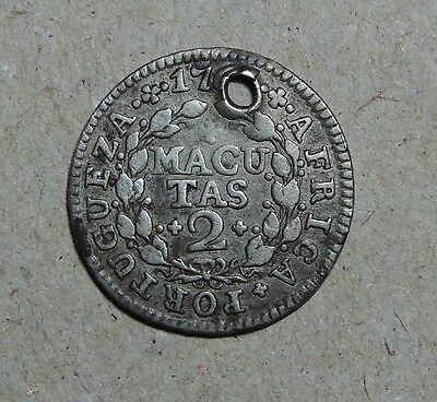Angola 2 Macutas 1762/3? km#13 silver coin with hole cancelation
