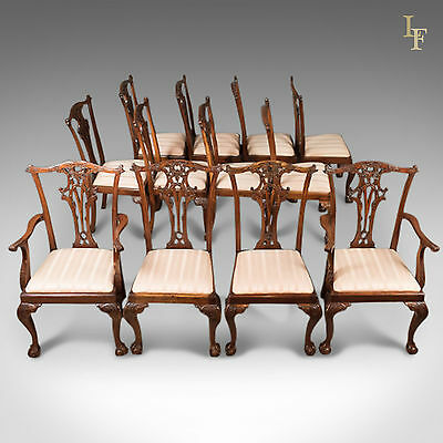 Set of 12 Dining Chairs, 20th Century Chippendale Revival, Mahogany