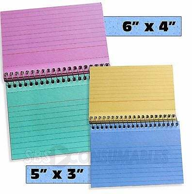 50 Premier Coloured Spiral Bound Flashcards. Lined Record / Revision Cards.