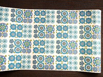 60s 70s RETRO FLOWER POWER BLUE  Wallpaper  1 Metre - VINTAGE - Craft