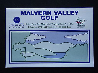 Malvern Valley Golf Score Card