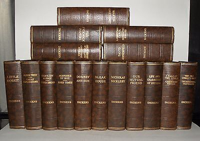 Charles Dickens - 16 book collection- C1930's, Brown Bindings, Vintage,
