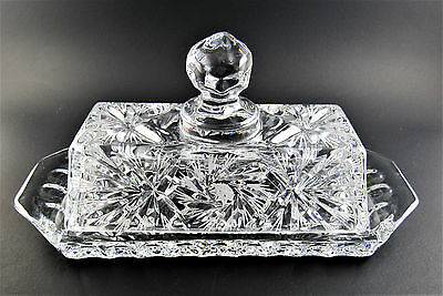 Vintage Crystal Glass Butter Dish With  Lid (A1)
