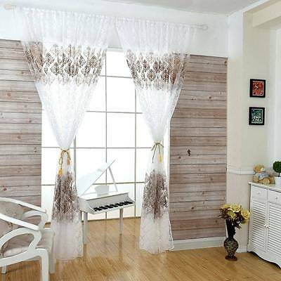Sweet Floral Home Door Window Tulle Voile Curtains Sheer Scarf Valances Drapes
