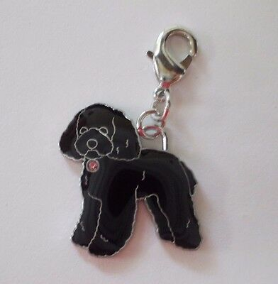 NEW Black Poodle Dog Clip On Charm with Jewel