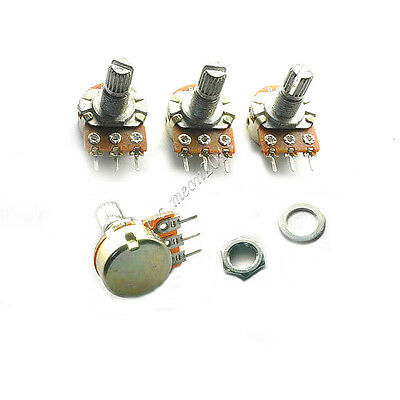 10 pcs 3-Pin 500K ohm Linear Taper Rotary Potentiometer Panel pot B500K 15mm
