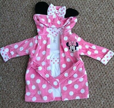 Disney Store Baby Mini Mouse Bathrobe Dressing Gown Pink Spots 3-6 Months Hooded