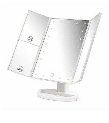 Herwiss Lighted Makeup Vanity Mirror with 180 Degree Rotation Stand Up Three-way