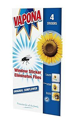 Vapona Window Stickers Sunflower x 4 Insect Flies, Wasp & Pest Eliminator