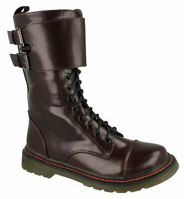 Girls Kids Ankle Boots Military Combat Style Lace Up Mid Calf Shoes Size