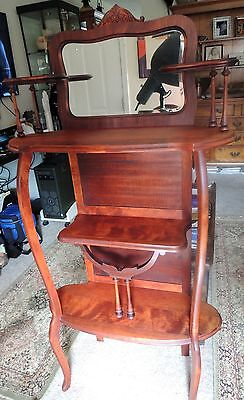 Antique Victorian Mirorred Wood Etagere