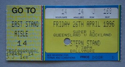 Queensland v Auckland Ballymore 26 April 1996 Super 12 Rugby Union Ticket