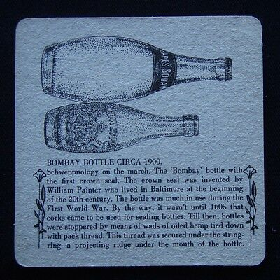 Schweppes Bombay Bottle Circa 1900 Schweppervescence Lasts The Whole Coaster