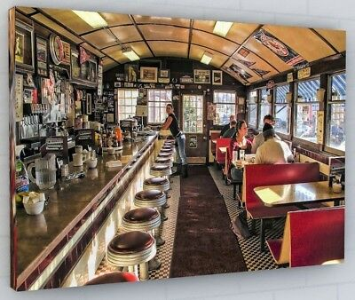 American Diner Rose Canvas Picture Print Wall Art Chunky Frame Large 335-2