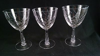 Tiffin Franciscan Carousal Set Of 3 Crystal Water Glasses / Goblets Bubble Stem