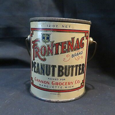 Vintage Frontenac Brand Peanut Butter Tin Pail, Gannon Grocery Co, Empty