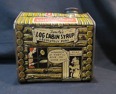 "Vintage Towle's Log Cabin Syrup Litho Tin 1 Pint 10oz, ""Home Sweet Home, Bear"""