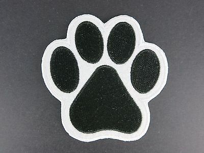 Paw Print Iron On Patch Dog Cat Puppy Kitty Black White Paws