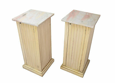 Vintage Pair Marble Top Neo-Classical Pedestal Stands w Enclosed Cabinets
