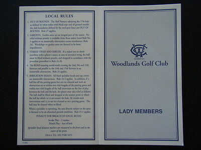 Woodlands Golf Club Lady Members - Score Card