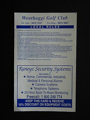 Wonthaggi Golf Club Score Card