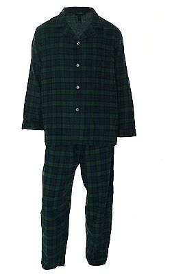 $105 CLUB ROOM Men PAJAMA SET SHIRT PANTS GREEN Plaid Cotton LOUNGE SLEEPWEAR XL