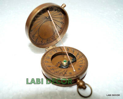 Vintage Brass Sundial Compass Lord Kelvin Engrave Antique Compass Thread Lid Cap