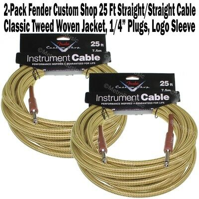 2-Pack FENDER Custom Shop 25 ft Tweed Guitar Instrument Cable Bass Cord Straight