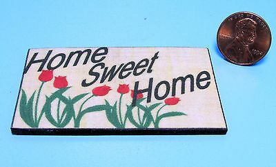 Dollhouse Miniature Home Sweet Home Mat / Rug with Tulips ~ HW475D