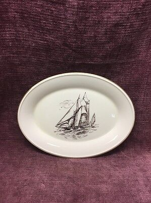 Lenox Special Clipper Ship Brown Gold Rim Oval Serving Plate Made In USA