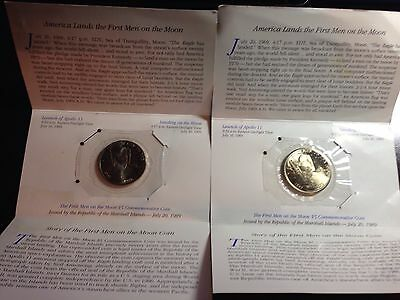 2 Republic Of The Marshall Islands First Men On The Moon $5 Commemorative Coin