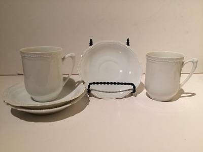 Antique PK Silesia Porcelain Cups and Saucers, Germany