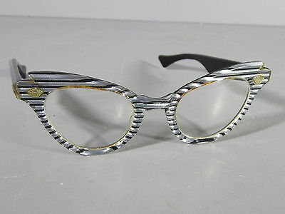 VINTAGE 1950s Black/Silver Lucite Cat Eye Glasses LUMAR 982 44-22 Eyeglasses
