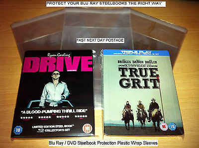 Blu Ray DVD Steelbook Protection Plastic Wraps 40 Sleeves Covers - 40 Microns