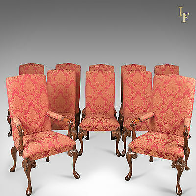 Set of 10, Upholstered Dining Chairs, C20th, in Early C18th Manner, High Back