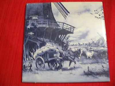 2 painted Delft Blauw Blue and White Tiles Featuring Windmills Made Holland