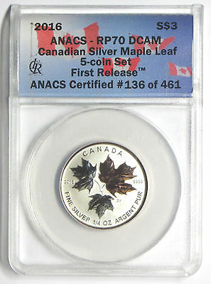 2016 CANADA SILVER 1/4 oz MAPLE LEAF $3 ANACS RP70 DCAM REVERSE PROOF