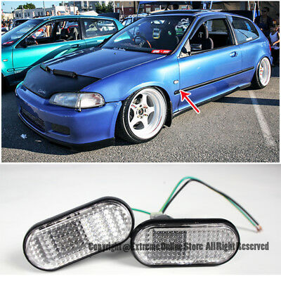 For 92-95 Civic Si EG6 Fender Replacement JDM CLEAR FLAT Side Marker Lights Lamp