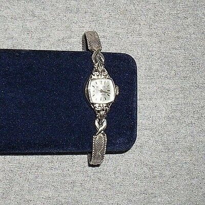 Vintage Westclox Diamond Watch 17 Jewels 10K White Gold Band