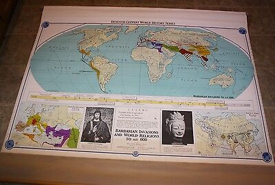 1958  Denoyer-Geppert Map,World History Series,Barbarian Invasions ,Pull Down