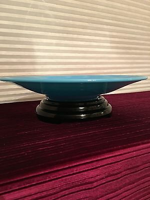 Depression Vintage Blue Delphite Glass Shallow Bowl with Black Amethyst Pedestal