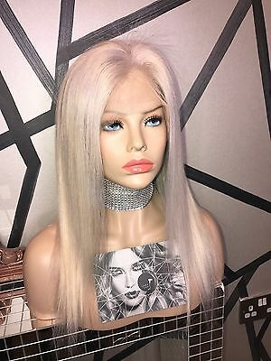 "LADYLUX Full Lace Wig Platinum Blonde Human Hair Colour 60 14"" Long"