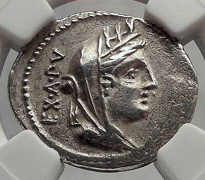 Roman Republic 102BC Cybele Victory Chariot Stork Ancient Silver Coin NGC i62352