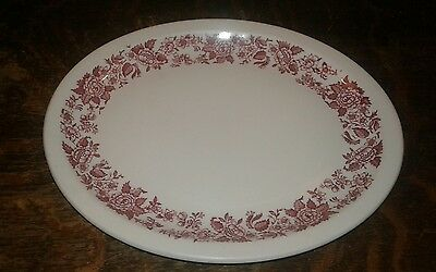"Jackson China Platter Red Pink Floral 11.5"" X 9.5"" Grand Rapids Post Fxtr  (133)"